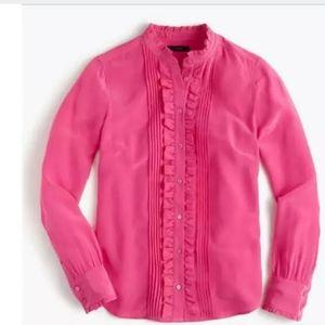 J.CREW Pink Ruffle Silk Blouse Size:0 BNWOT